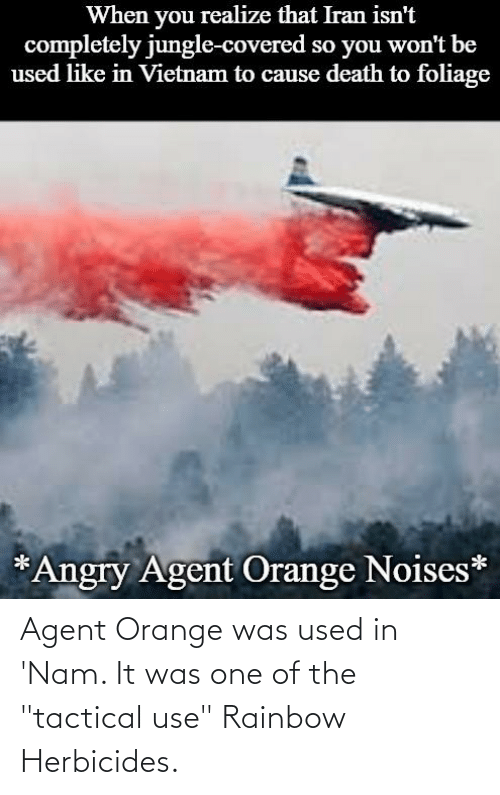 """agent orange: realize that Iran isn't  completely jungle-covered so you won't be  used like in Vietnam to cause death to foliage  When  you  *Angry Agent Orange Noises* Agent Orange was used in 'Nam. It was one of the """"tactical use"""" Rainbow Herbicides."""