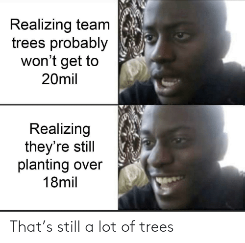 realizing: Realizing team  trees probably  won't get to  20mil  Realizing  they're still  planting over  18mil That's still a lot of trees