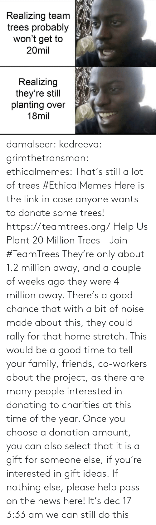 plants: Realizing team  trees probably  won't get to  20mil  Realizing  they're still  planting over  18mil damalseer:  kedreeva: grimthetransman:  ethicalmemes:  That's still a lot of trees #EthicalMemes   Here is the link in case anyone wants to donate some trees!  https://teamtrees.org/ Help Us Plant 20 Million Trees - Join #TeamTrees  They're only about 1.2 million away, and a couple of weeks ago they were 4 million away. There's a good chance that with a bit of noise made about this, they could rally for that home stretch. This would be a good time to tell your family, friends, co-workers about the project, as there are many people interested in donating to charities at this time of the year. Once you choose a donation amount, you can also select that it is a gift for someone else, if you're interested in gift ideas. If nothing else, please help pass on the news here!    It's dec 17 3:33 am we can still do this