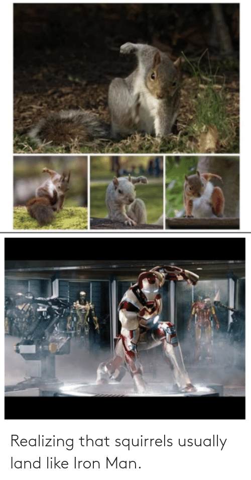 Iron Man: Realizing that squirrels usually land like Iron Man.