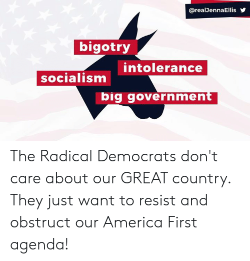 Socialism: @realJennaEllis  bigotry  intolerance  socialism  big government The Radical Democrats don't care about our GREAT country. They just want to resist and obstruct our America First agenda!