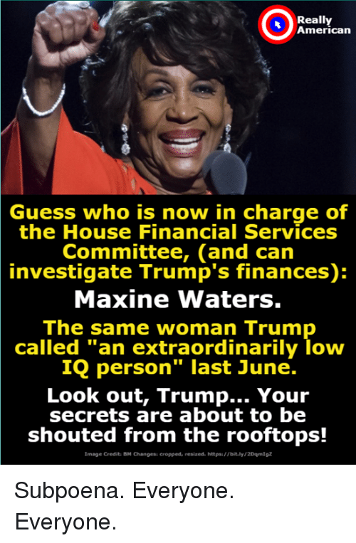 """investigate: Really  American  Guess who is now in charge of  the House Financial Services  Committee, (and can  investigate Trump's finances):  Maxine Waters.  The same woman Trump  called """"an extraordinarily loww  IQ person"""" last June.  Look out, Trump... Your  secrets are about to be  shouted from the rooftops!  Image Credit: BM Changesi cropped, resized. httpsi//bit.ly/2DqmIgz Subpoena. Everyone.  Everyone."""