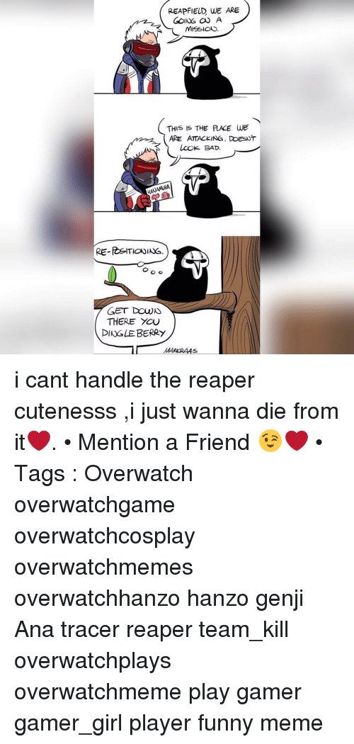 Dingle Berries: REAPFIELD WE ARE  GOING a A  MISSIONS  THIS IS THE RACE WE  ARE ATTACKING. PoesNT  Look BAD.  RE-RSITIONING  GET DOWN  THERE YOU  DINGLE BERRY  MARKRAAs i cant handle the reaper cutenesss ,i just wanna die from it❤️. • Mention a Friend 😉❤️ • Tags : Overwatch overwatchgame overwatchcosplay overwatchmemes overwatchhanzo hanzo genji Ana tracer reaper team_kill overwatchplays overwatchmeme play gamer gamer_girl player funny meme