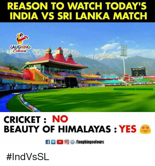 Cricket, India, and Match: REASON TO WATCH TODAY'S  INDIA VS SRI LANKA MATCH  LAUGHING  CRICKET: NO  BEAUTY OF HIMALAYAS: YES #IndVsSL