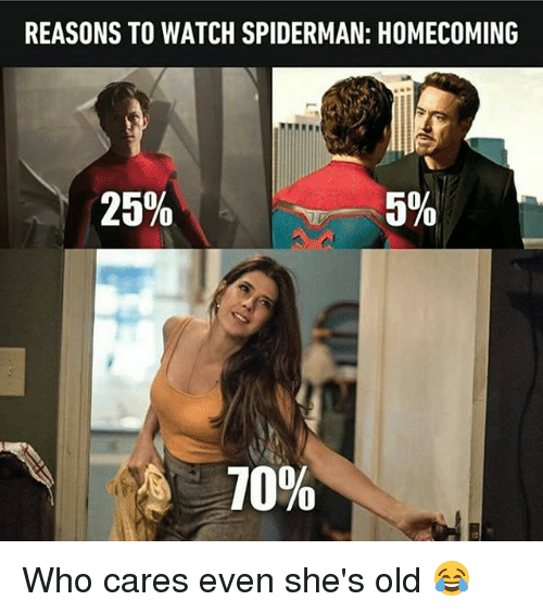 Spidermane: REASONS TO WATCH SPIDERMAN: HOMECOMING  25%  5%  10% Who cares even she's old 😂
