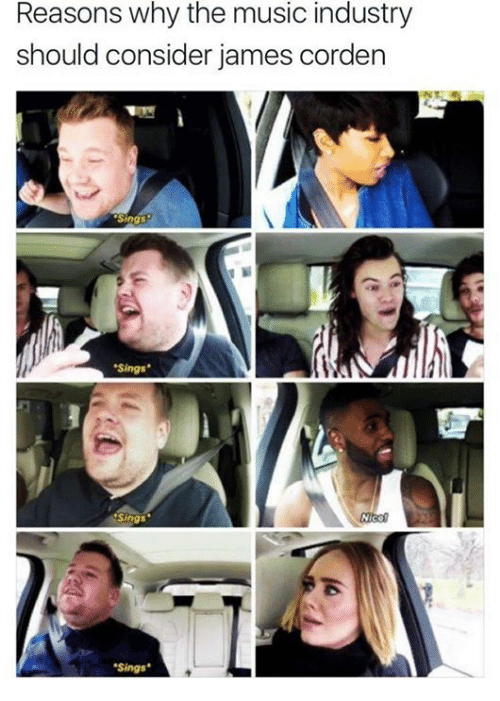 """James Corden: Reasons why the music industry  should consider james corden  Sings  """"Sings""""  .sings"""