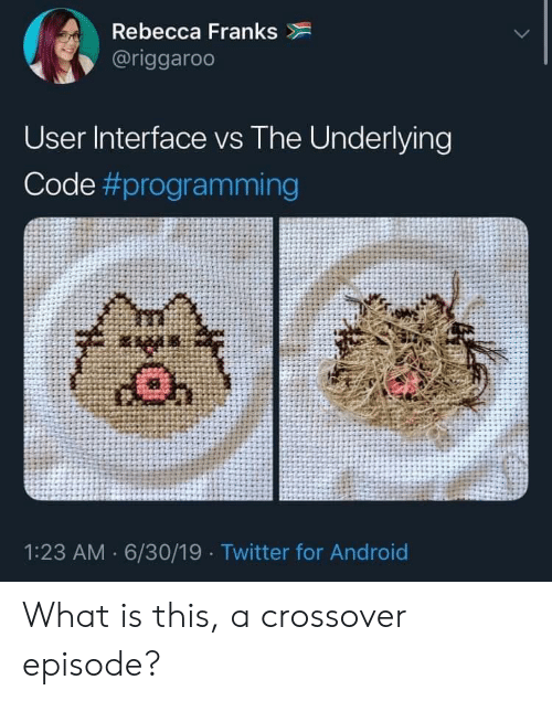 franks: Rebecca Franks  @riggaroo  User Interface vs The Underlying  Code #programming  1:23 AM 6/30/19 Twitter for Android What is this, a crossover episode?