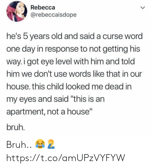 """In Response To: Rebecca  @rebeccaisdope  he's 5 years old and said a curse wora  one day in response to not getting his  way. i got eye level with him and told  him we don't use words like that in our  house. this child looked me dead in  my eyes and said """"this is an  apartment, not a house""""  bruh Bruh.. 😂🤦♂️ https://t.co/amUPzVYFYW"""