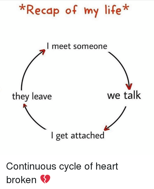 heart broken: *Recap of my life*  l meet someone  7  they leave  we talk  I get attached Continuous cycle of heart broken 💔