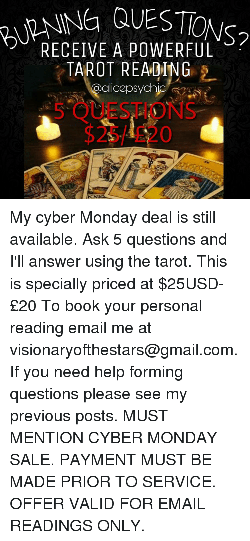 RECEIVE A POWERFUL TAROT READING KNIG My Cyber Monday Deal