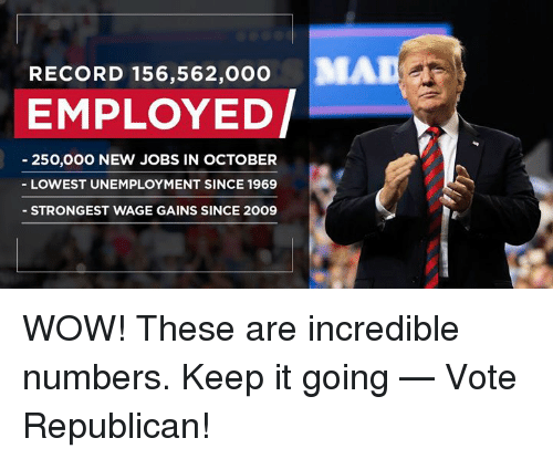 Keep It Going: RECORD 156,562,000  MAD  EMPLOYED/  250,000 NEW JOBS IN OCTOBER  LOWEST UNEMPLOYMENT SINCE 1969  STRONGEST WAGE GAINS SINCE 20O9 WOW! These are incredible numbers. Keep it going — Vote Republican!