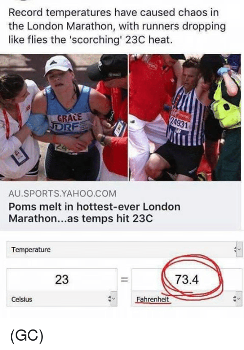 Memes, Sports, and Heat: Record temperatures have caused chaos in  the London Marathon, with runners dropping  like flies the 'scorching' 23C heat.  GRACE  RF  AU.SPORTS.YAHOO.COM  Poms melt in hottest-ever London  Marathon...as temps hit 23C  Temperature  23  73.4  Celsius  Fahrenheit (GC)