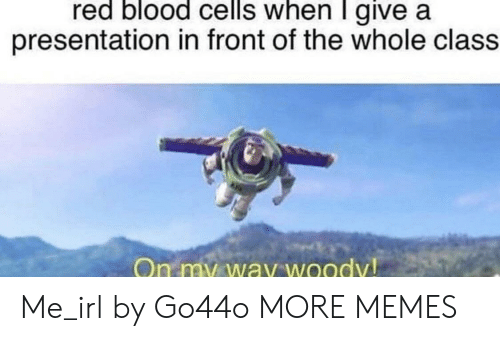 woody: red blood cells when I give a  presentation in front of the whole class  On my way woody! Me_irl by Go44o MORE MEMES