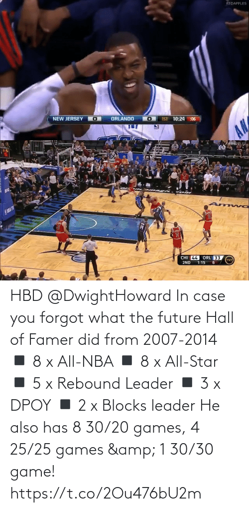 All Star: REDAPPLES  NEW JERSEY O  ORLANDO  IST 10:24 :06  AN   :15  AREDAPPLES.  SPALTID  AMWAY CENI  BIG  SNBA TV  14  CHI 44  ORL 33  TNT  2ND  1:15 HBD @DwightHoward In case you forgot what the future Hall of Famer did from 2007-2014  ◾️ 8 x All-NBA  ◾️ 8 x All-Star  ◾️ 5 x Rebound Leader ◾️ 3 x DPOY ◾️ 2 x Blocks leader  He also has 8 30/20 games, 4 25/25 games & 1 30/30 game! https://t.co/2Ou476bU2m