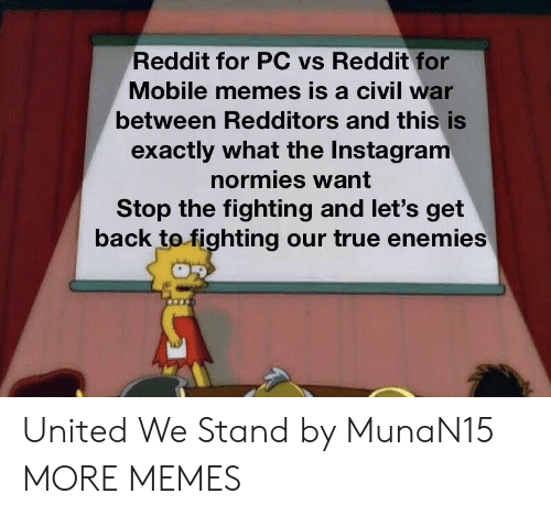 stand by: Reddit for PC vs Reddit for  Mobile memes is a civil war  between Redditors and this is  exactly what the Instagram  normies want  Stop the fighting and let's get  back tofighting our true enemies United We Stand by MunaN15 MORE MEMES