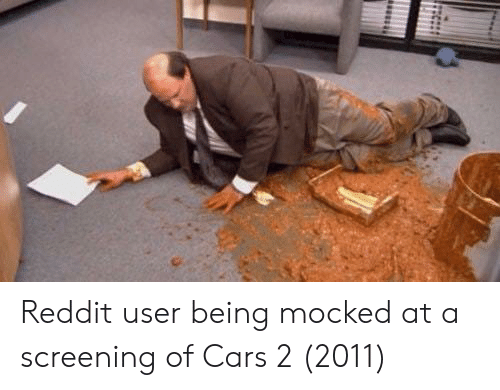 screening: Reddit user being mocked at a screening of Cars 2 (2011)