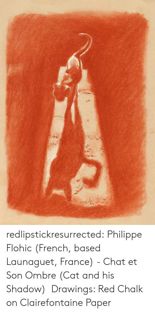 ombre: redlipstickresurrected:  Philippe Flohic (French, based Launaguet, France) - Chat et Son Ombre (Cat and his Shadow) Drawings: Red Chalk on Clairefontaine Paper