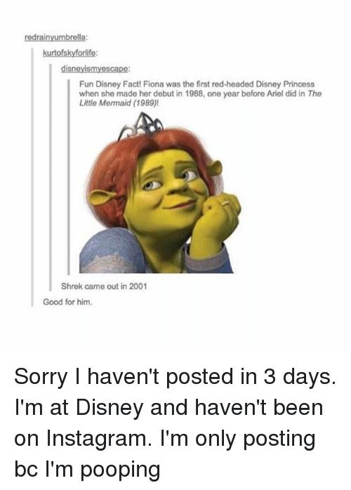 Im Pooping: redrainyumbrella:  kurtofskyforlife:  disneyismy escape:  Fun Disney Fact! Fiona was the first red-headed Disney Princess  when she made her debut in 1988, one year before Ariel did in The  Little Mermaid (1989)!  Shrek came out in 2001  Good for him. Sorry I haven't posted in 3 days. I'm at Disney and haven't been on Instagram. I'm only posting bc I'm pooping