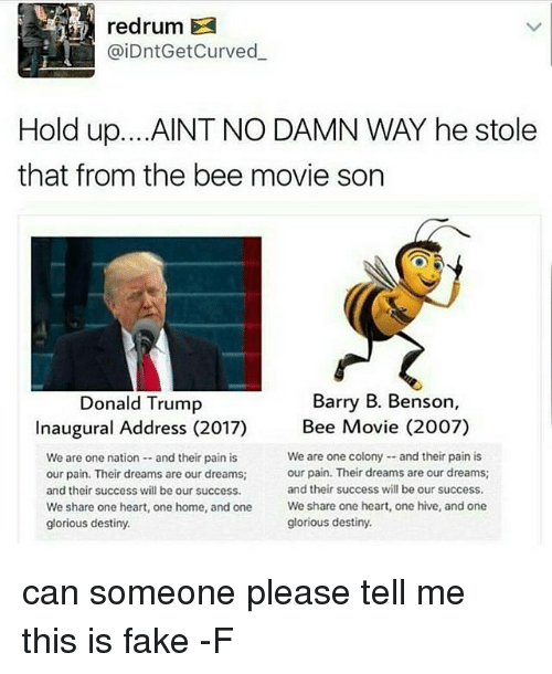 Donald Trump Inauguration: redrum  aiDntGetCurved  Hold up. ...AINT NO DAMN WAY he stole  that from the bee movie son  Barry B. Benson,  Donald Trump  Inaugural Address (2017)  Bee Movie (2007)  We are one colony and their pain is  We are one nation and their pain is  our pain. Their dreams are our dreams;  our pain. Their dreams are our dreams;  and their success will be our success.  and their success will be our success.  We share one heart, one home, and one  We share one heart, one hive, and one  glorious destiny.  glorious destiny. can someone please tell me this is fake -F