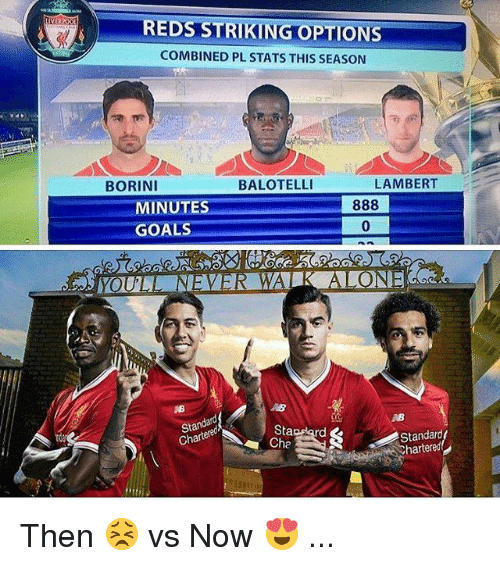 Goals, Memes, and Reds: REDS STRIKING OPTIONS  COMBINED PL STATS THIS SEASON  BORINI  BALOTELLI  LAMBERT  MINUTES  GOALS  0  St  Chartere  Stapdard  Cha  Standard  hartered  rda Then 😣 vs Now 😍 ...