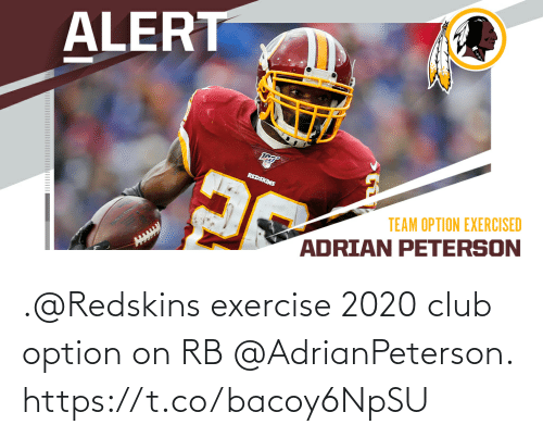option: .@Redskins exercise 2020 club option on RB @AdrianPeterson. https://t.co/bacoy6NpSU