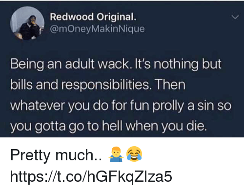 Being an Adult, Memes, and Hell: Redwood Original.  @moneyMakinNique  Being an adult wack. It's nothing but  bills and responsibilities. Then  whatever you do for fun prolly a sin so  you gotta go to hell when you die. Pretty much.. 🤷‍♂️😂 https://t.co/hGFkqZlza5
