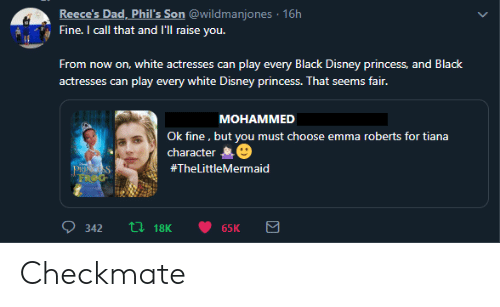 disney princess: Reece's Dad, Phil's Son @wildmanjones 16h  Fine. I call that and l'll raise you.  From  now on, white actresses can play every Black Disney princess, and Black  play every white Disney princess. That seems fair.  actresses can  MOHAMMED  Ok fine, but you must choose emma roberts for tiana  character  PRINGSS  FROG  #TheLittleMermaid  L18K  342  65K Checkmate