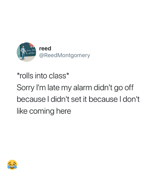 Reed: reed  @ReedMontgomery  ll this  'rolls into class*  Sorry I'm late my alarm didn't go off  because l didn't set it because I don't  like coming here 😂