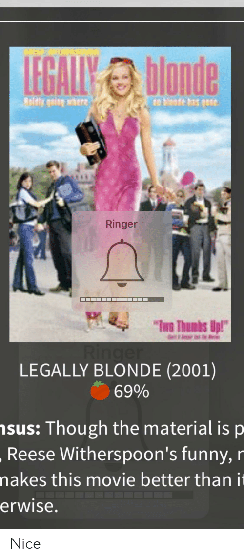"""Legally Blonde: REESE WITHERSPOO  LEGALIYblande  ely geing where  n blende has gsne  Ringer  """"Imo Thumbs Up!""""  Ringe  LEGALLY BLONDE (2001)  69%  nsus: Though the material is p  Reese Witherspoon's funny, r  makes this movie better than it  erwise. Nice"""