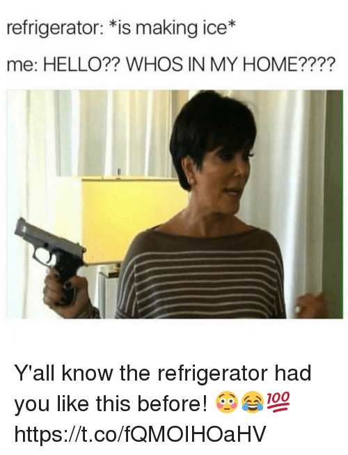 Hello, Home, and Refrigerator: refrigerator: *is making ice*  me: HELLO?? WHOS IN MY HOME???? Y'all know the refrigerator had you like this before! 😳😂💯 https://t.co/fQMOIHOaHV