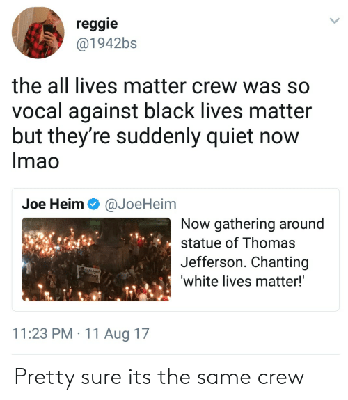 All Lives Matter: reggie  @1942bs  the all lives matter crew was so  vocal against black lives matter  but they're suddenly quiet now  Imao  Joe Heim Ф @JoeHeim  Now gathering around  statue of Thomas  Jefferson. Chanting  white lives matter!  11:23 PM 11 Aug 17 Pretty sure its the same crew