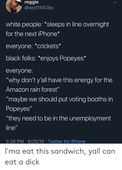 "crickets: reggie  @wyd1942bs  white people: *sleeps in line overnight  for the next iPhone*  everyone: *crickets*  black folks: *enjoys Popeyes*  everyone:  ""why don't y'all have this energy for the  Amazon rain forest""  ""maybe we should put voting booths in  Popeyes""  ""they need to be in the unemployment  line""  5:26 PM 8/25/19 Twitter for iPhone I'ma eat this sandwich, yall can eat a dick"