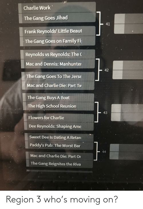 moving on: Region 3 who's moving on?