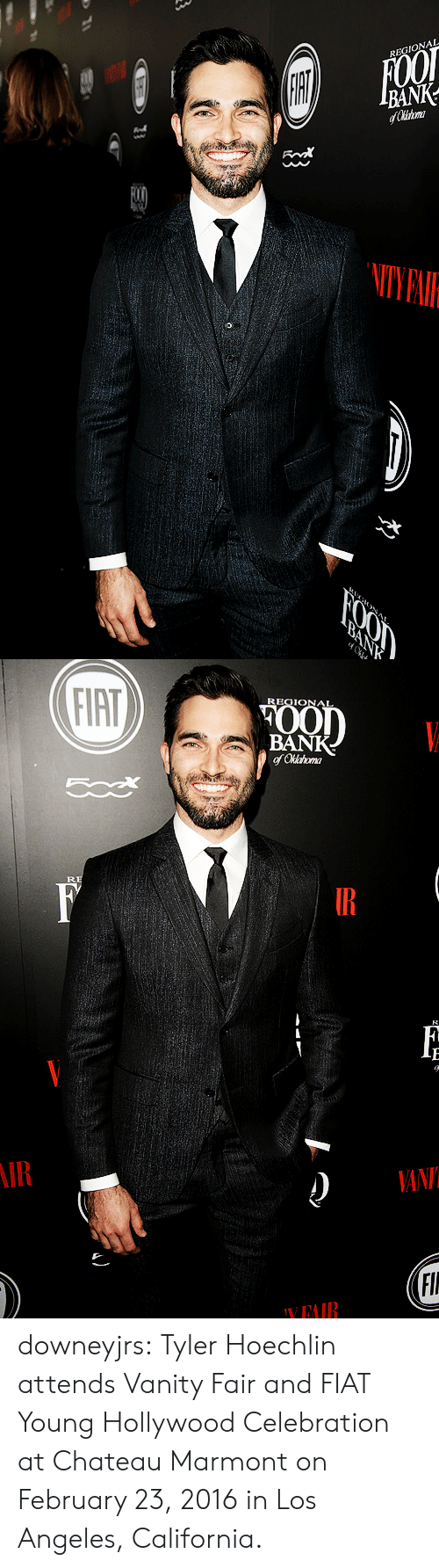 tyler hoechlin: REGIONAL  FOOT  IBANK-  fChirtom  FOOD  BANK  ONA   FIAT  REGIONAL  POOD  BANK  of Oklahoma  RE  F  IR  ИN  (FI  YEAIR  A downeyjrs:  Tyler Hoechlin attends Vanity Fair and FIAT Young Hollywood Celebration at Chateau Marmont on February 23, 2016 in Los Angeles, California.