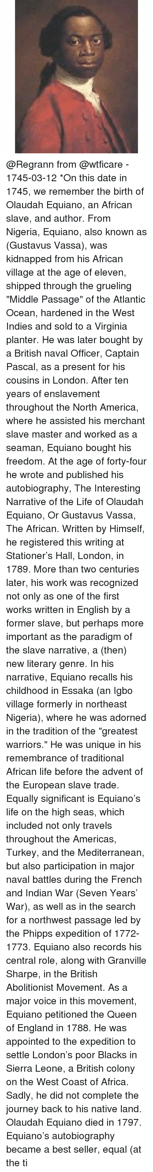 the journey of olaudah equiano The life of olaudah equiano, or gustavus vassa, the african  equiano encountered white men for the first time and the journey to the new world on a slave ship.
