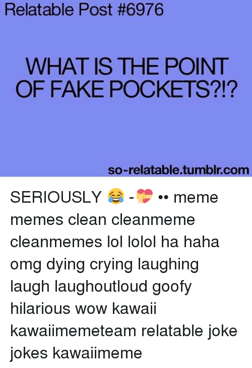So Relateable: Relatable Post #6976  WHAT IS THE POINT  OF FAKE POCKETS  so-relatable.tumblr.com SERIOUSLY 😂 -💝 •• meme memes clean cleanmeme cleanmemes lol lolol ha haha omg dying crying laughing laugh laughoutloud goofy hilarious wow kawaii kawaiimemeteam relatable joke jokes kawaiimeme
