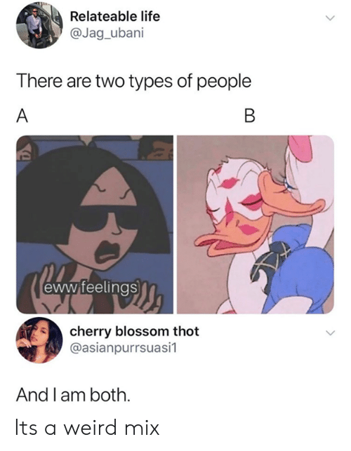 relateable: Relateable life  @Jag_ubani  There are two types of people  A  B  eww feelings  cherry blossom thot  @asianpurrsuasi1  And l am both. Its a weird mix