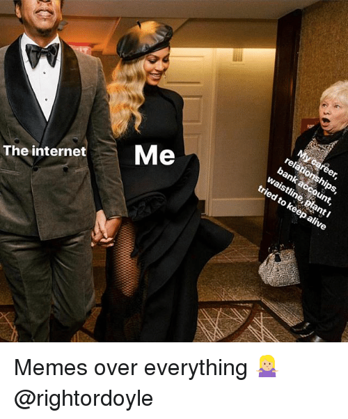 Alive, Memes, and Bank: relati  bank acc  waistline, blant I  tried  to keep alive  The internetMe Memes over everything 🤷🏼♀️ @rightordoyle