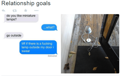 Relationship Goals: Relationship goals  do you like miniature  lamps?  ...what?  go outside  tiff if there is a fucking  lamp outside my door i  swear  Delivered
