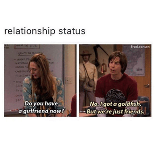 memes: relationship statu:s  fred.benson  rt  ser  Do you have  a girlfriend now?  No.lgot a goldish  -But we're just friends.