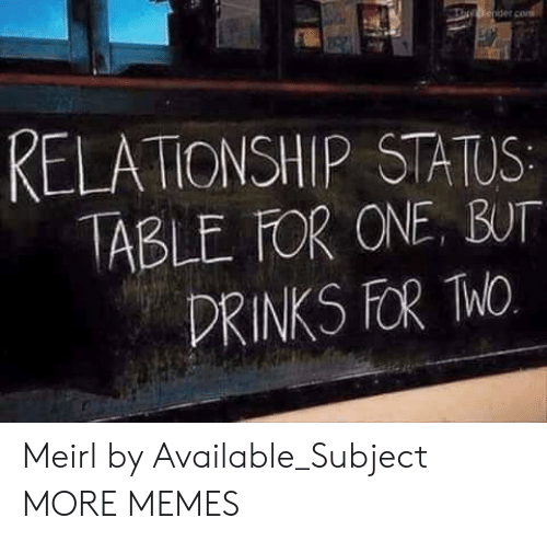 Relationship Status: RELATIONSHIP STATUS  ABLE FOR ONE, BUT  DRINKS FOR hO Meirl by Available_Subject MORE MEMES