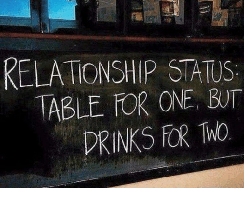 Relationship Status: RELATIONSHIP STATUS  TABLE FOR ONE, BUT  DRINKS FOR ThO