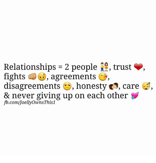 Disagreance: Relationships 2 people  2, trust S,  fights agreements  i,  disagreements  es, honesty 2, care  up on each other  fb.com/JoellyOwnsThis1