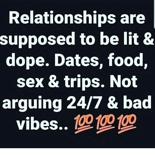 Bad, Dope, and Food: Relationships are  supposed to be lit &  dope. Dates, food,  sex & trips. Not  arguing 24/7 & bad  vibes..
