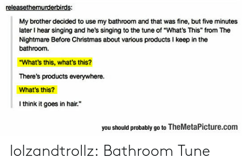 """Whats This: releasethemurderbirds:  My brother decided to use my bathroom and that was fine, but five minutes  later I hear singing and he's singing to the tune of """"What's This"""" from The  Nightmare Before Christmas about various products I keep in the  bathroom.  """"What's this, what's this?  There's products everywhere.  What's this?  I think it goes in hair.  you should probably go to TheMetaPicture.com lolzandtrollz:  Bathroom Tune"""