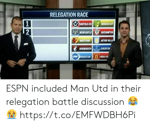villa: RELEGATION RACE  SHEFFIELD UTD  NORWICH CITY  2  NEWCASTLE  SOUTHAMPTON  WATFORD  ASTON VILLA  BOURNEMOUTH  EVERTO  BRIGHTON MAN UN ESPN included Man Utd in their relegation battle discussion 😂😭 https://t.co/EMFWDBH6Pi
