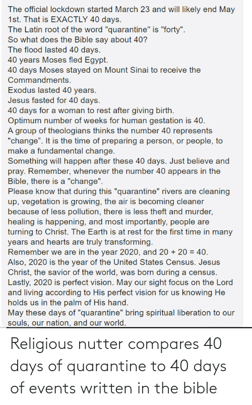 Bible: Religious nutter compares 40 days of quarantine to 40 days of events written in the bible