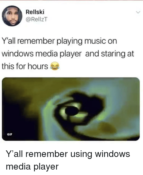 Playing Music: Rellski  @RellzT  Y'all remember playing music on  windows media player and staring at  this for hours  GIF Y'all remember using windows media player