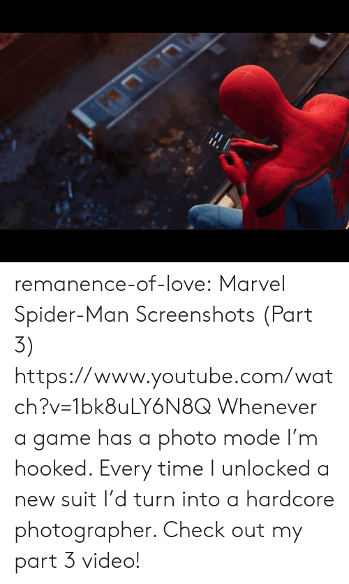 Screenshots: remanence-of-love:  Marvel Spider-Man Screenshots (Part 3) https://www.youtube.com/watch?v=1bk8uLY6N8Q   Whenever a game has a photo mode I'm hooked. Every time I unlocked a new suit I'd turn into a hardcore photographer. Check out my part 3 video!