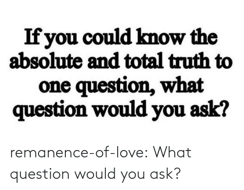 Would You: remanence-of-love:  What question would you ask?